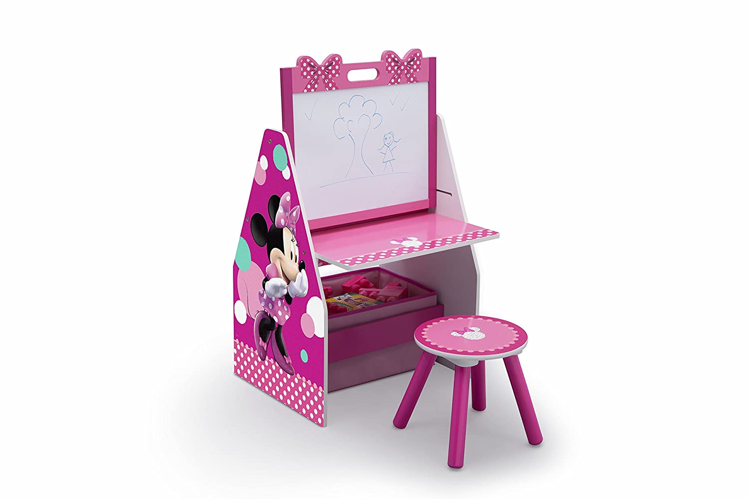 Disney Activity Center with Easel Desk, Stool and Toy Organizer, Minnie Mouse Delta Children TE87519MN