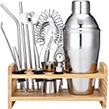 Godmorn Cocktail Set Cocktail Shaker Set Stainless Steel 550ml Bar Tool Set 13 pcs Bartender Kit with Wooden Display Stand Cocktail Gift Set with Cocktail Book