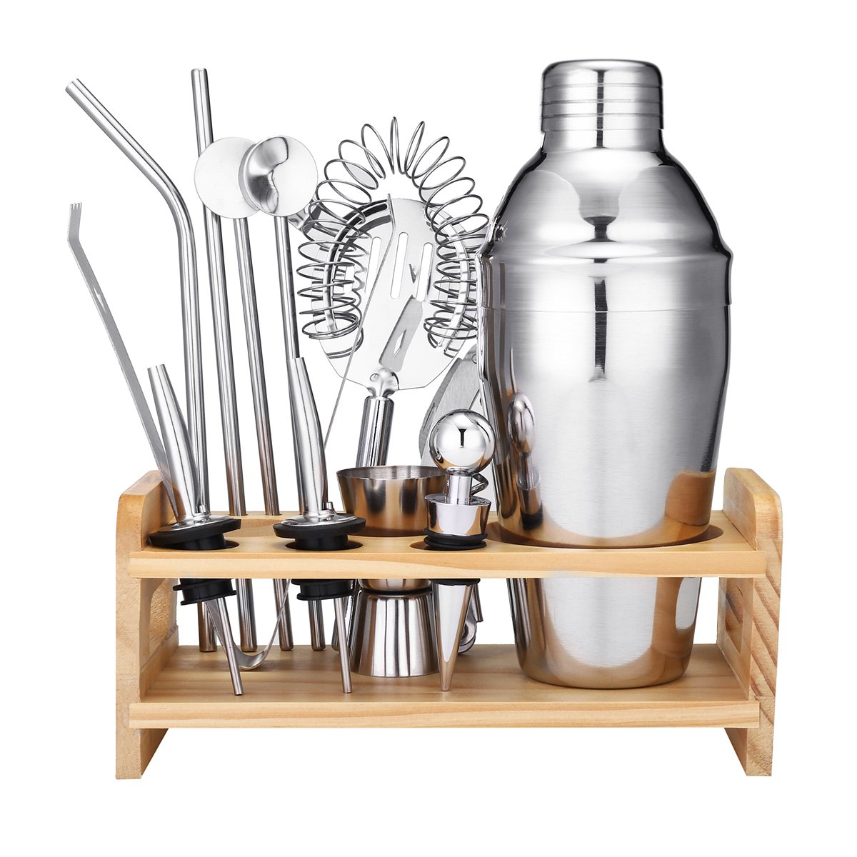 Godmorn Cocktail Shaker Set 13 Piece Home Bar Set Bartender Kit,18 oz Stainless Steel Martini Shaker with Wooden Stand,Double Jigger,Bottle Opener,2 Pourers,Bonus 20 Cocktail Recipes Booklet
