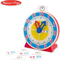 Melissa & Doug Turn & Tell Wooden Clock (Educational Toy, 13 Reversible Time Cards)