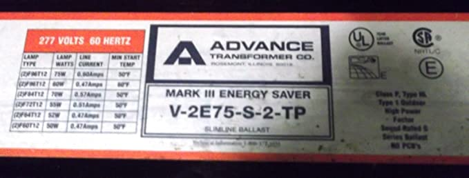 Advance Mark III Energy Saver Fluorescent Light Slimline Ballast R-2E75-S-3-TP