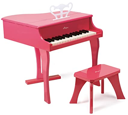 Amazon.com: Hape Happy Grand Piano in Pink Toddler Wooden Musical ...