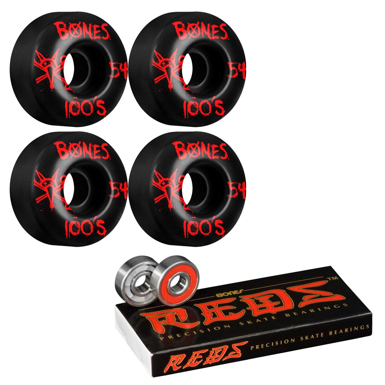 ボーンスケートボードWheels 54 mmブラックwith Reds Bearings B01NARMA9G