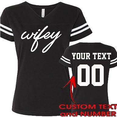 9105a8374f5 CRAZYDAISYWORLD Wifey Fashion T-Shirts Custom Jersey Style 1 Sided Design