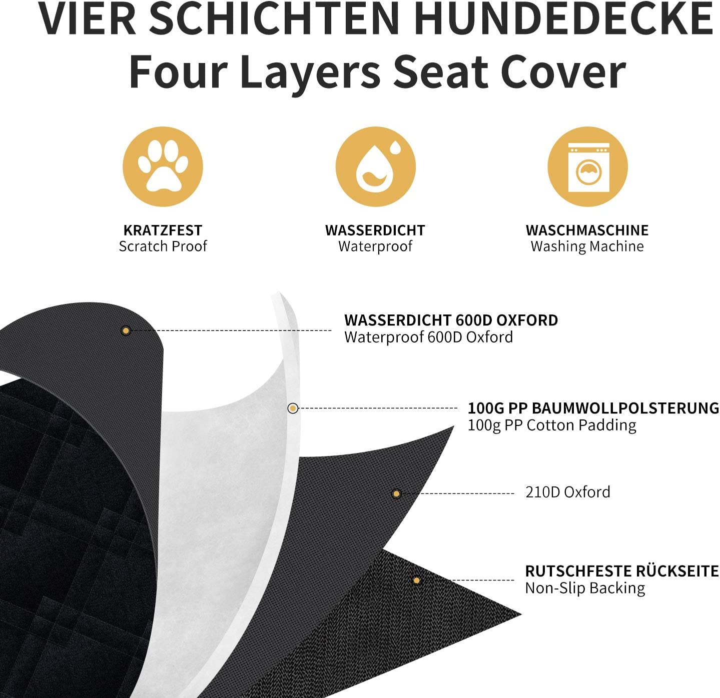 Toozey Dog Car Seat Cover with Side Protection for Car//Van// SUV//Wagon 146x135 cm Divisible Waterproof Dog Car Hammock Protector with Dog Belt Scratch-resistant /& Non-slip 2 Pockets