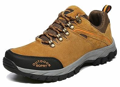 GFONE Men's Leather Low Rise Anti-Slip Trekking and Hiking Shoes Waterproof  Walking Climbing Sneakers