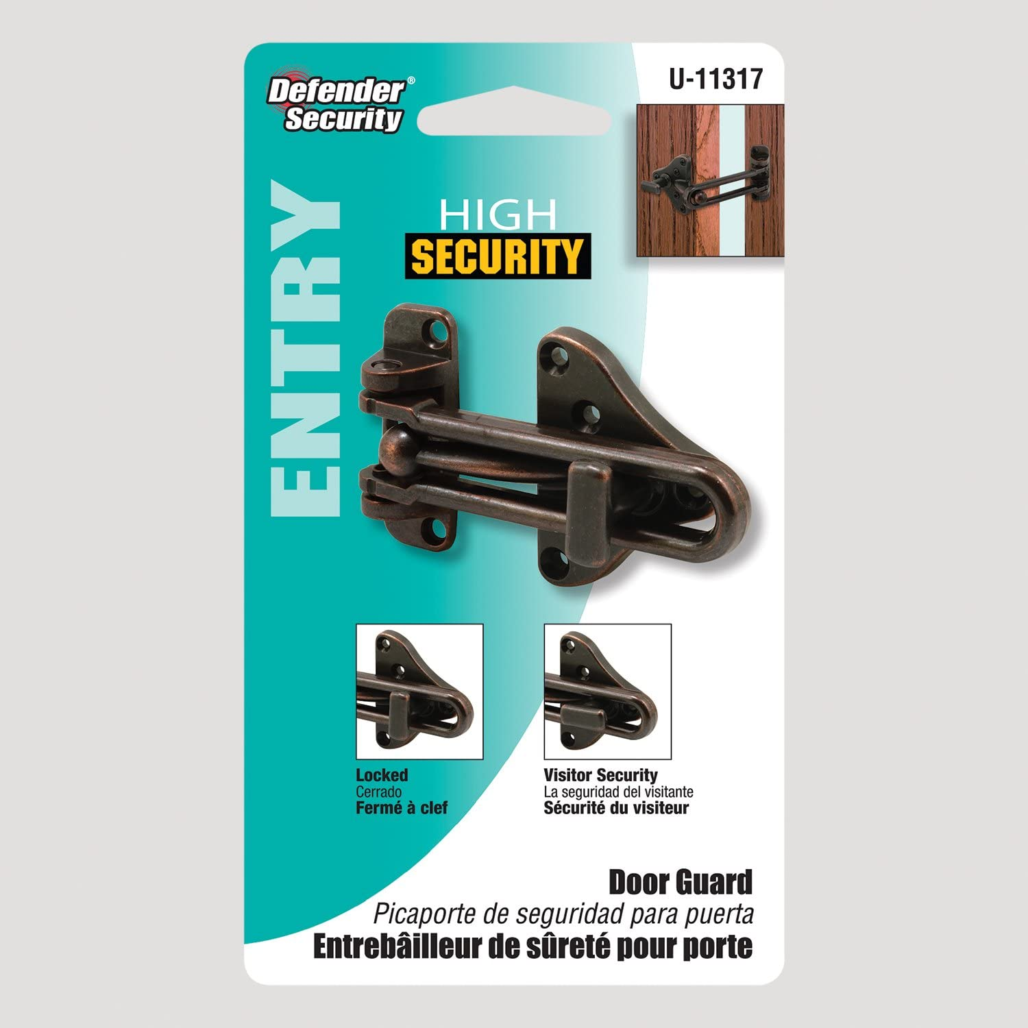 Defender Security U 11317 Swing Bar Door Guard With High Security Auxiliary Lock 1-Pack Classic Bronze Finish