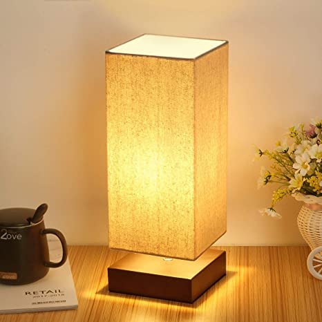 Amazon Com Touch Control Table Lamp Bedside 3 Way Dimmable Touch Desk Lamp Modern Nightstand Lamp With Square Fabric Lamp Shade Simple Night Light For Bedroom Living Room Office Led Bulb Included Home