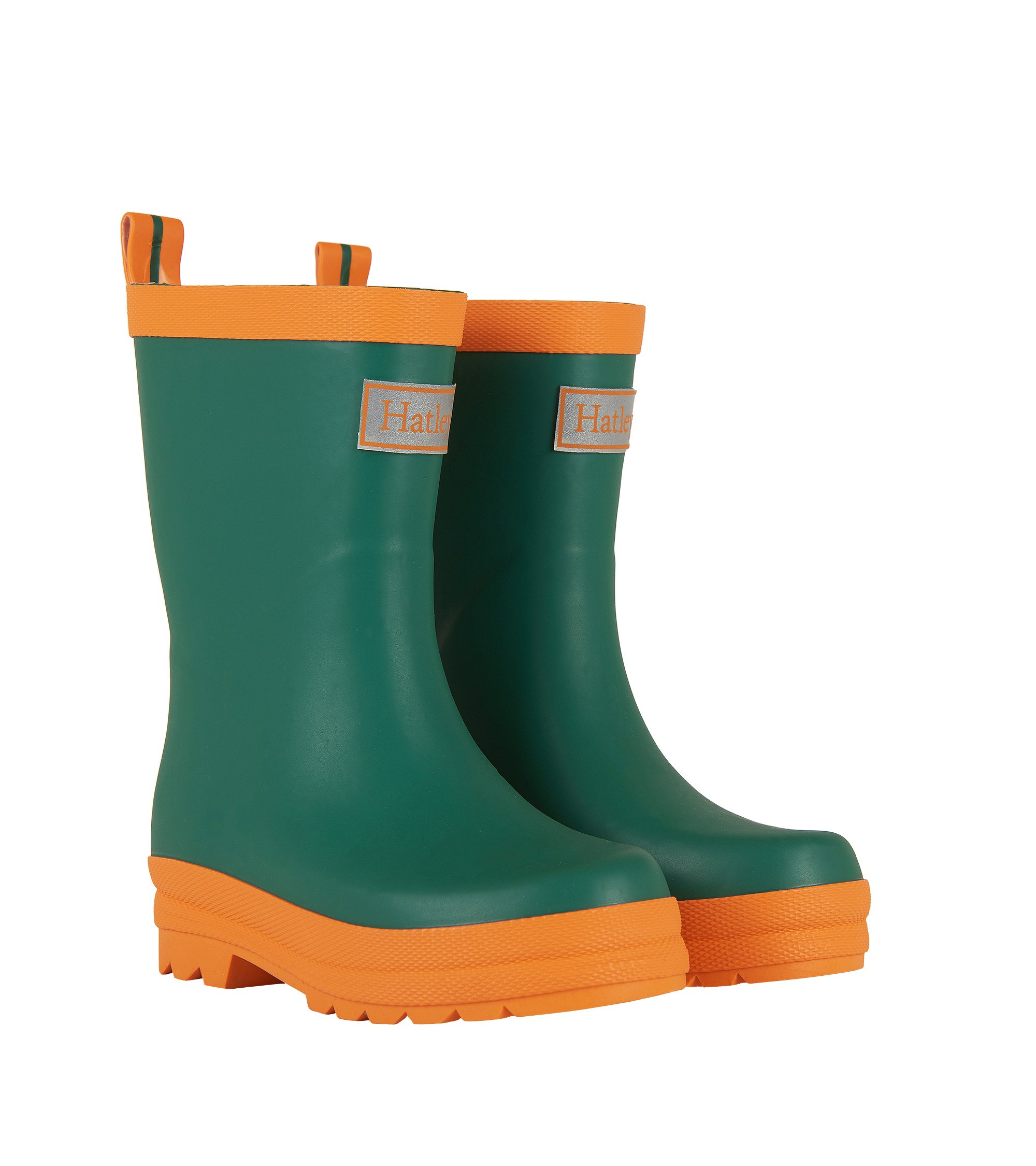 Hatley Kids' Classic Boots Rain Accessory, Green and Orange, 4 M US Toddler