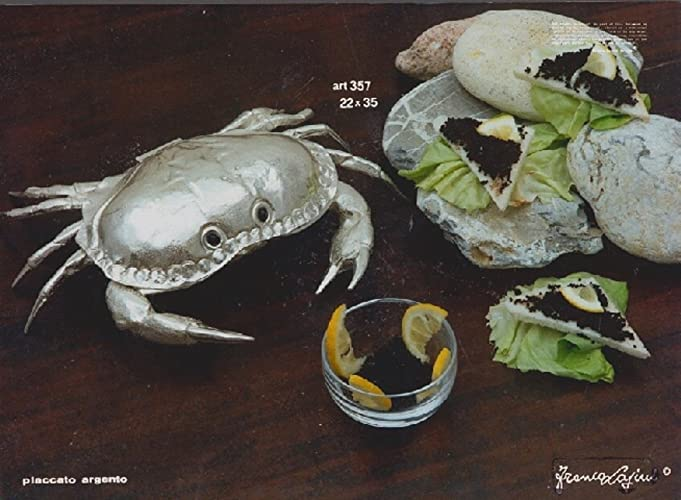 Coastal Christmas Tablescape Décor - Handmade Silver Crab Caviar Holder by Italian Silversmith Franco Lapini