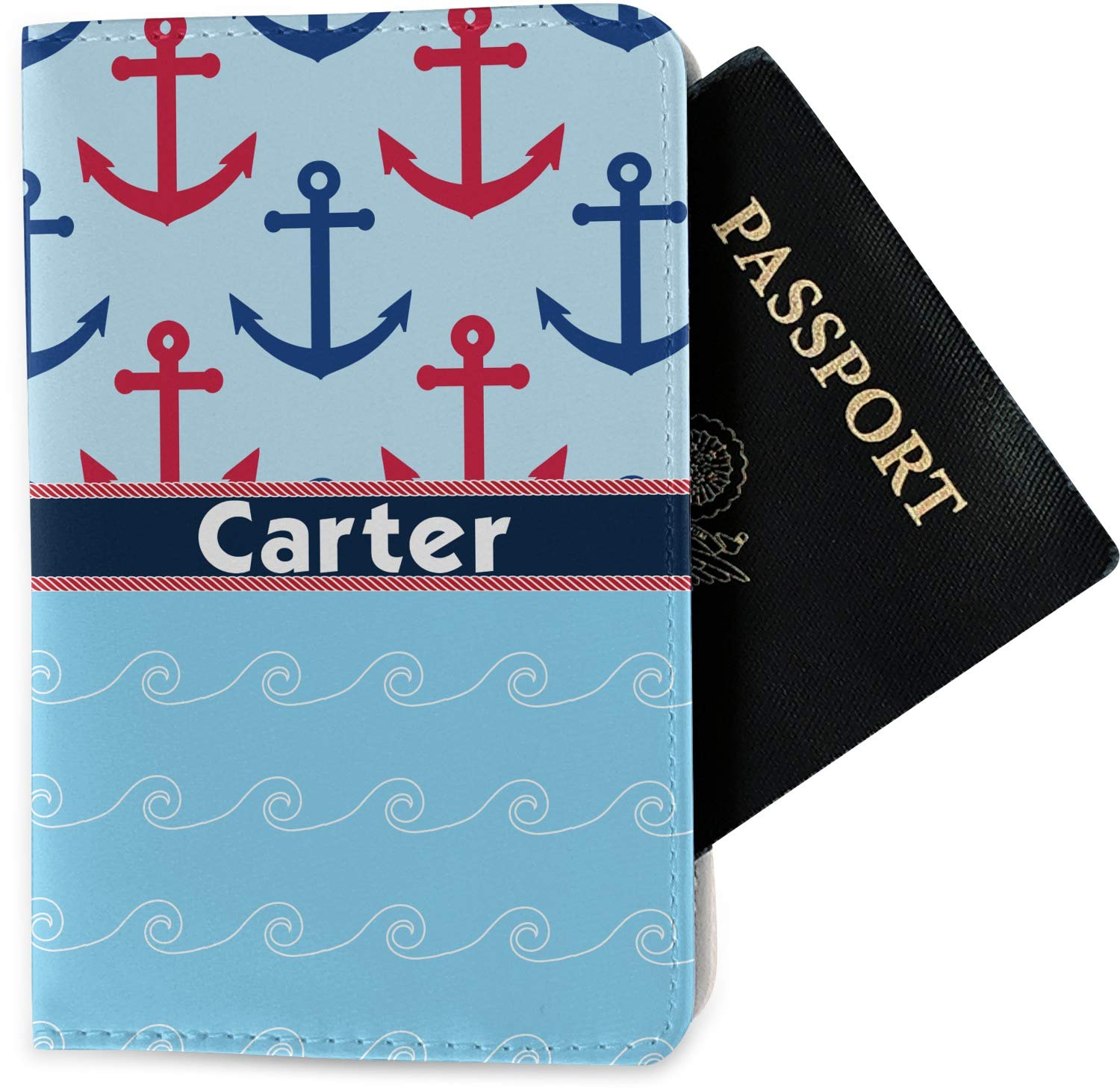 Anchors /& Waves Passport Holder Fabric Personalized