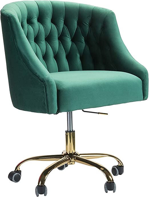Amazon Com Lydia Tufted Velvet Upholstery Task Chair For Home Office Green Kitchen Dining