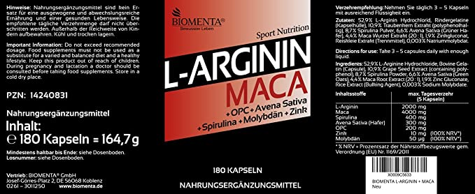 BIOMENTA L-ARGININA Y MACA | premio de la acción!!! | con 2.000 mg L-Arginina + 4.000 mg Maca + OPC + Zinco + Spirulina + Avena Sativa | 180 ...