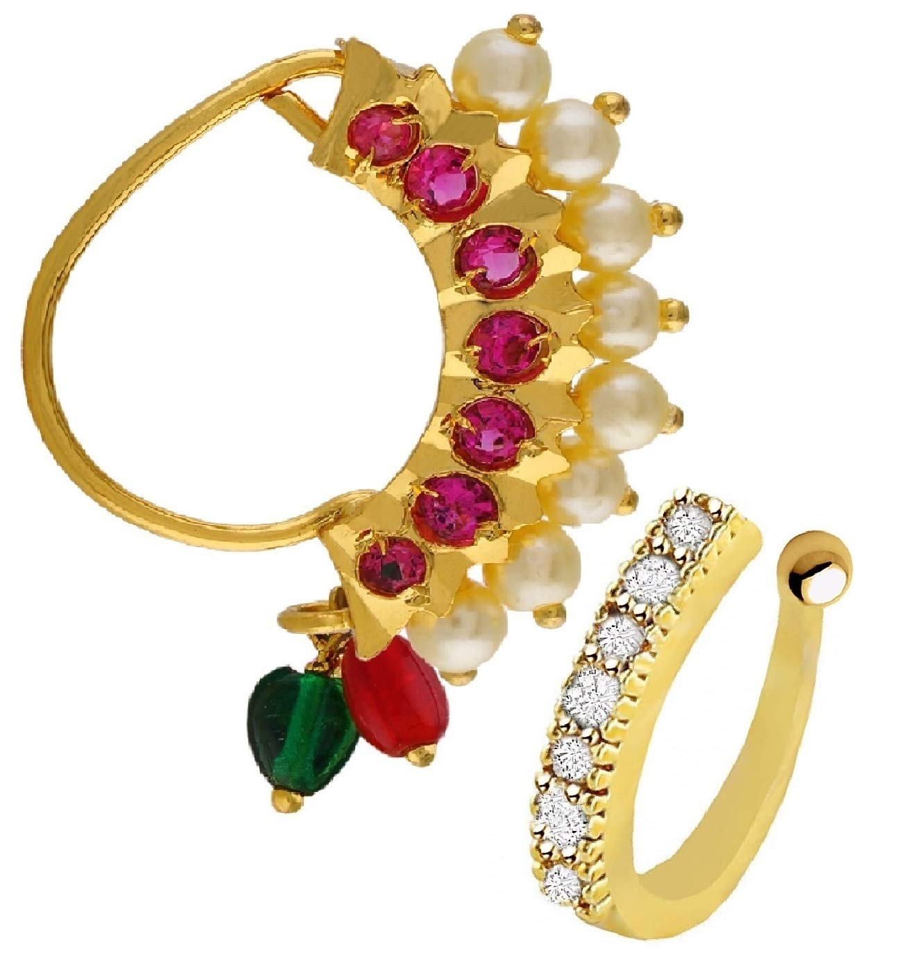 Vama Fashions Maharashtrian Gold Plated Pearl Nath Clip On Nose Ring Without Piercing For Women Buy Online In