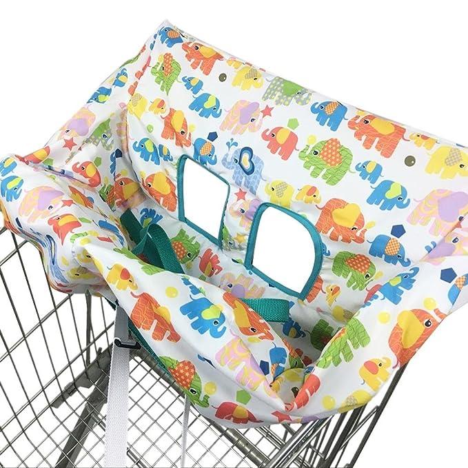 Carro de la Compra Cojín del bebé Cojín para niños Lindo Elefante de Dibujos Animados Asiento Impreso Silla de Comedor Funda Niños Niñas Bolsa Plegable ...