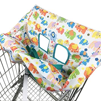 Includes Carry Bag Compact Universal Fit Machine Washable Modern Unisex Design for Boy or Girl 2-in-1 Highchair Cover Shopping Trolley Cover for Baby or Toddler Fits Restaurant High Chair