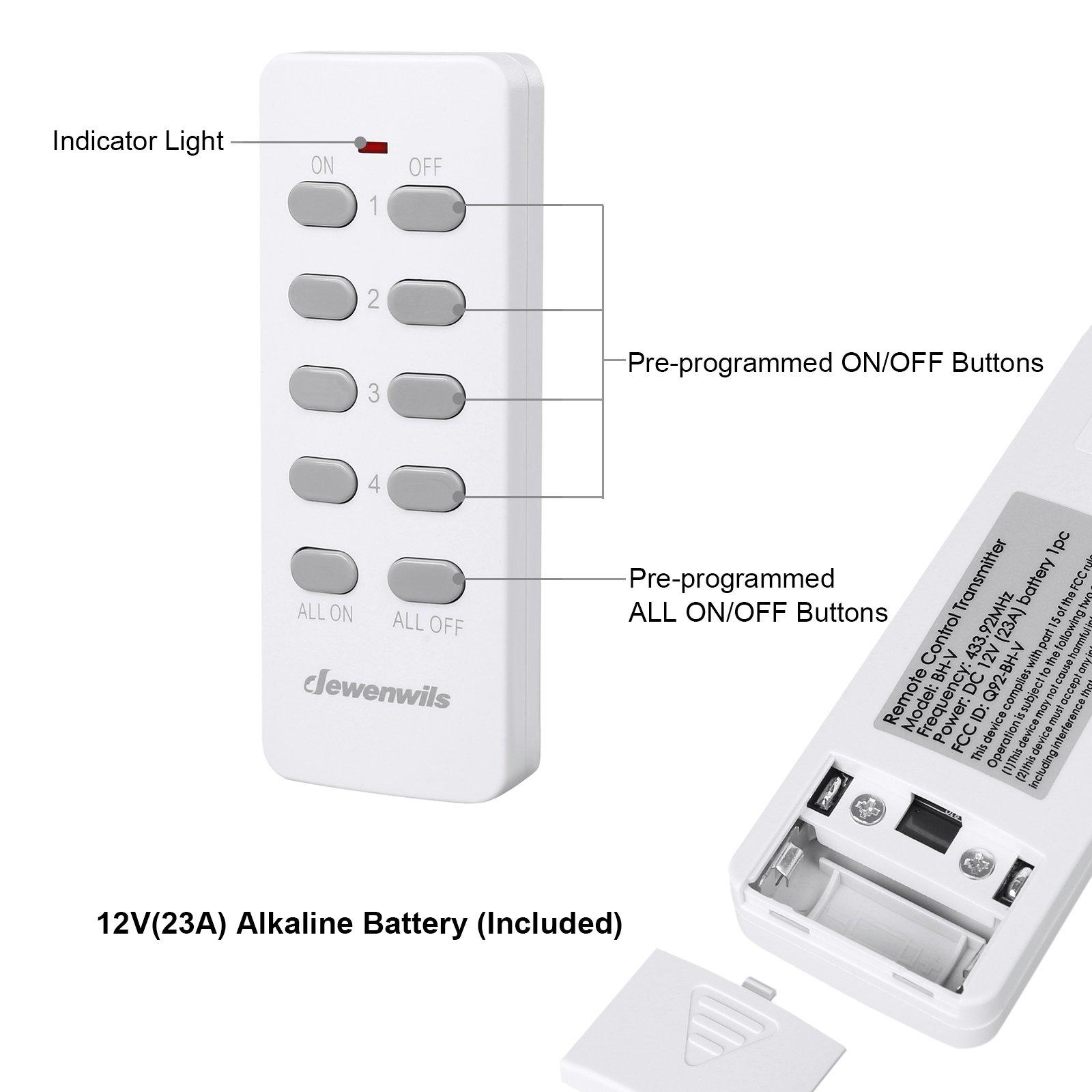 Dewenwils Remote Control Light Lamp Socket E26/E27 Bulb Base, Wireless Light Switch Kit, White (Programmable, 4 Sockets 2 Remotes, HRLSXXA Series) by DEWENWILS (Image #6)