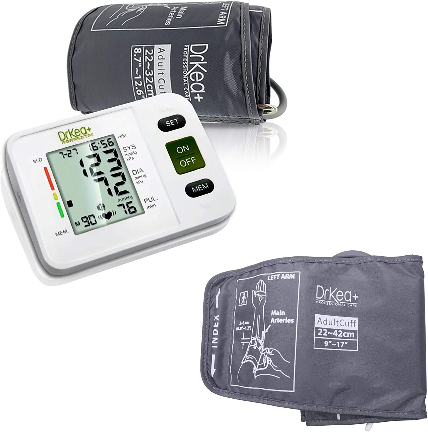 Blood Pressure Monitor Upper Arm & Upper Arm XL Cuff Strap 9 to 20.5 Inches - Suitable for Larger Upper Arm - Digital BP Monitor Home Kit - Comes with Batteries, Storage Bag