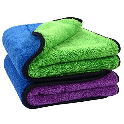 """SINLAND Microfiber Car Drying Towel,Super Absorbent car Cleaning Towel and Double-Faced Plush, Premium Professional Soft Microfiber Towel(16"""" x 24"""", 2 Pieces: Automotive"""