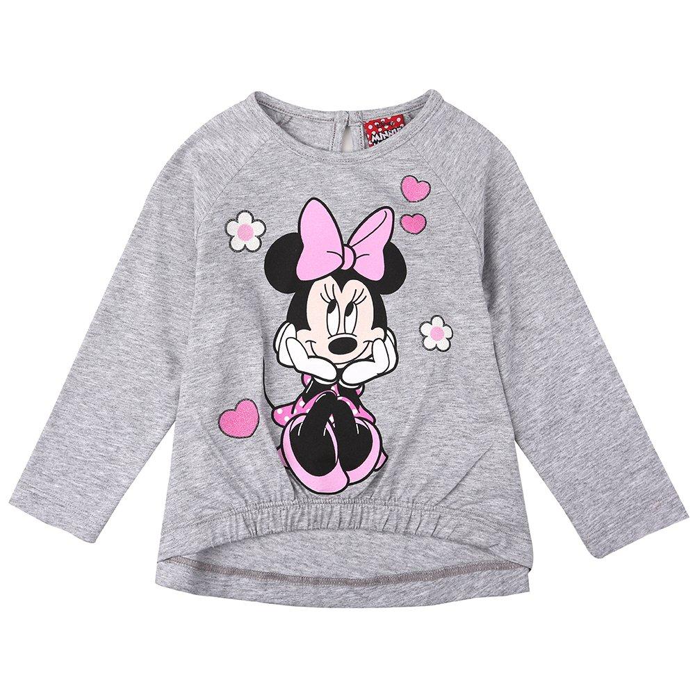Disney Ragazze Minnie Mouse Maglietta Melange Grigio Chiaro