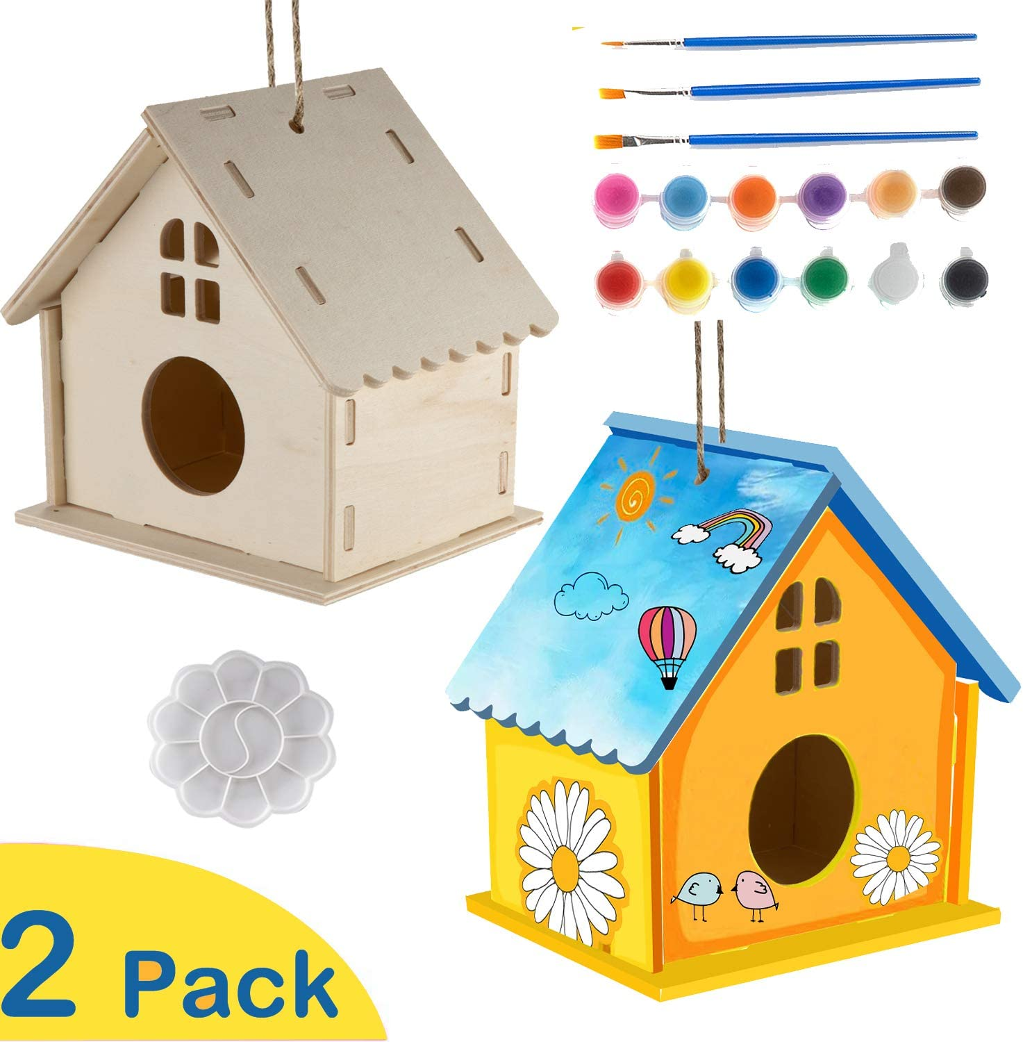 MIXNOVO 2 Pack Bird House Kit Crafts for Kids Build and Paint for Ages 4-8 Girls Boys Toddler Large Size Including 2 Pack Paints /& Brushes/&Plattee Tray,Used for Bird Living and Decor