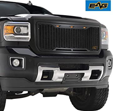 amazon com eag replacement upper grille abs front hood grill matte black with amber led lights fit for 15 19 gmc sierra 2500 3500 automotive eag replacement upper grille abs front hood grill matte black with amber led lights fit for 15 19 gmc sierra 2500 3500