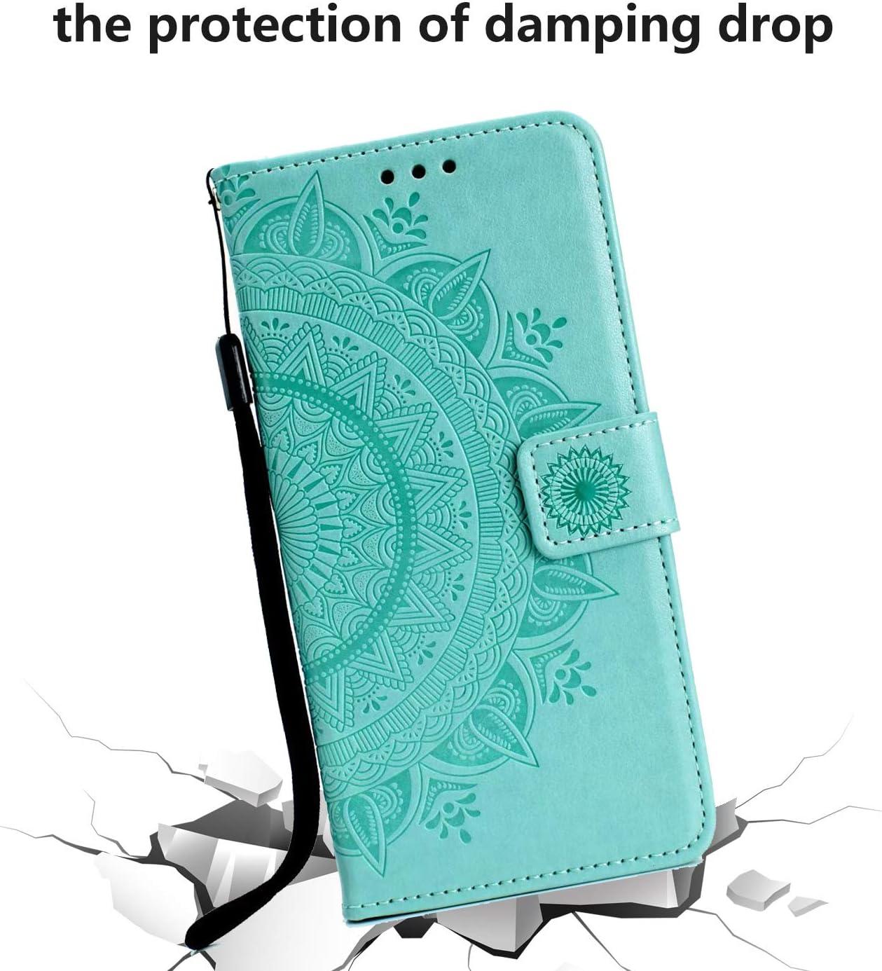 Handyh/ülle Samsung Galaxy A51 Case Tasche Leder Flip Mandala Wallet Schutzh/ülle St/änder Klapph/ülle Schale Bumper Magnet Deckel f/ür Galaxy A51 Grau Handytasche f/ür Samsung Galaxy A51 H/ülle