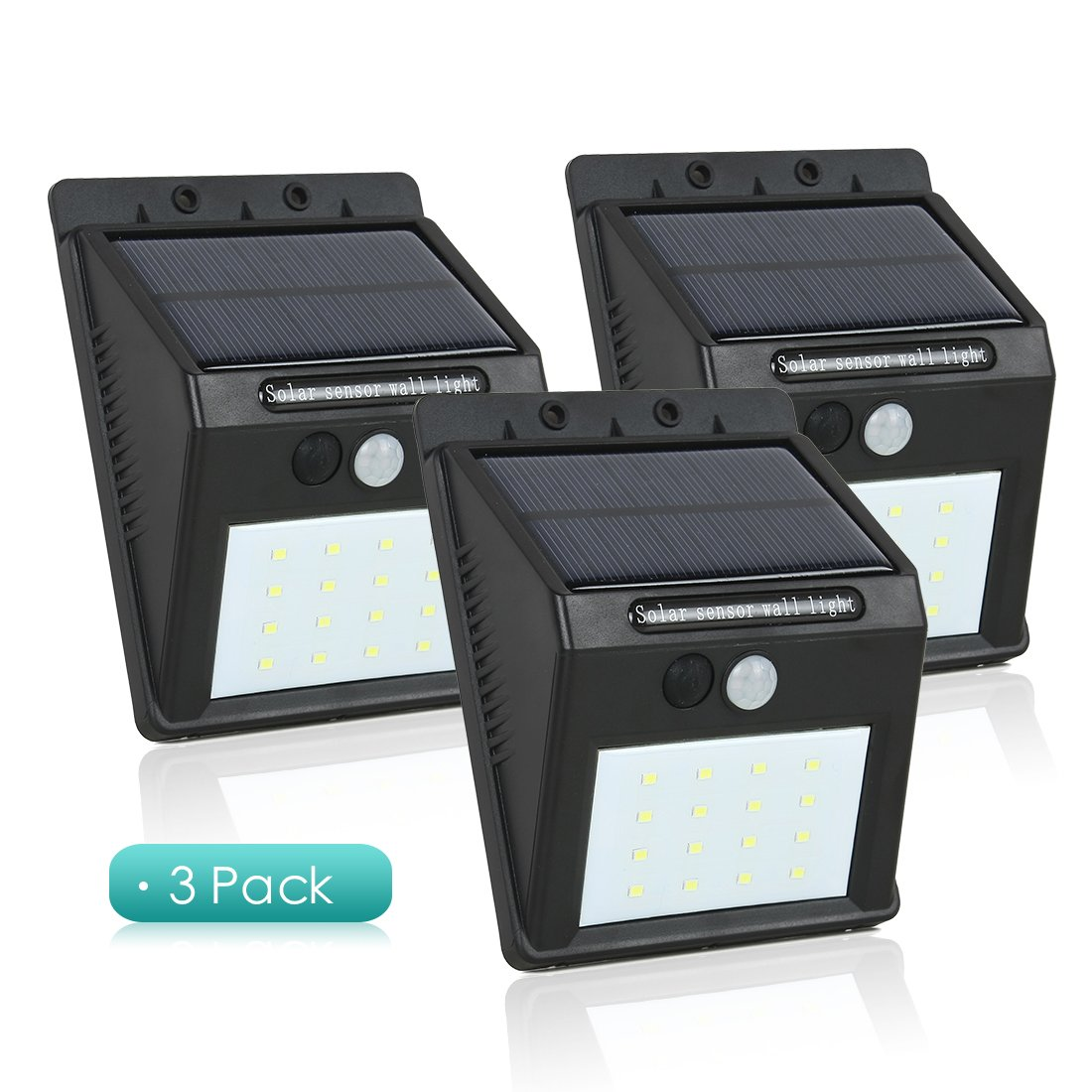 uxcell Solar Motion Sensor Light 16 LED Waterproof Wireless Solar Power Spotlight Garden Wall yard deck Bright Security Night Lights Motion Activated -3 Pack