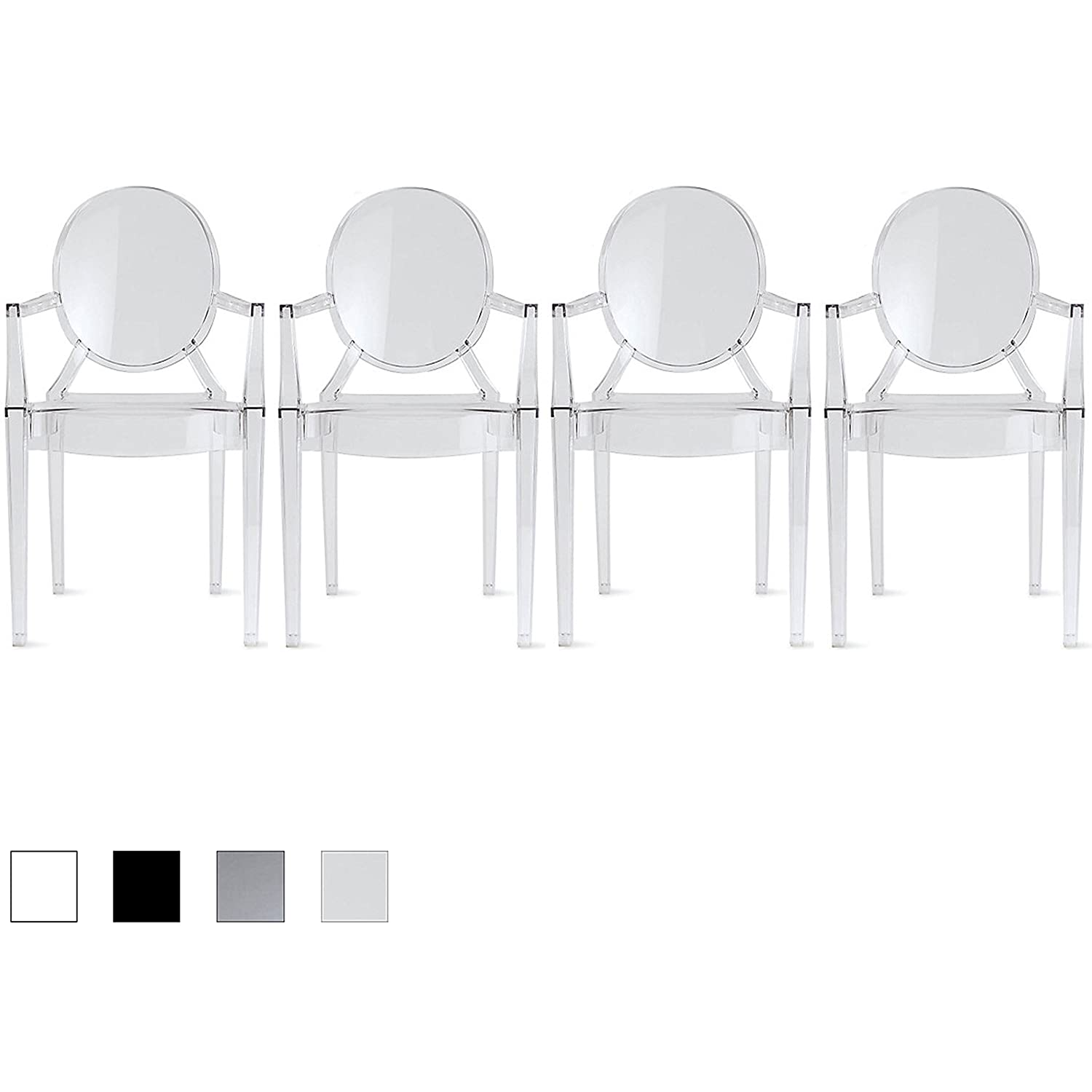 2xhome – Set of 4 Modern Designer Louis Ghost Armchairs with Polycarbonate Crystal Clear Transparent Plastic Dining Chairs