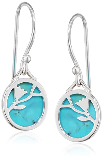 Elements Silver E4570T Women's Turquoise Leaf Shape Sterling Silver Earrings NqHCgYH