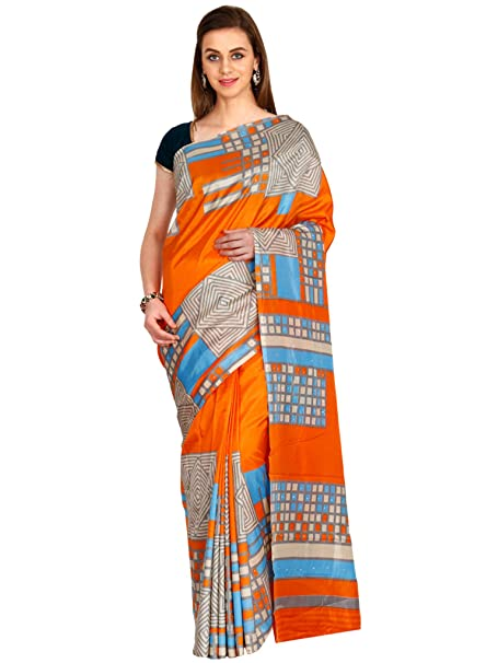 8ad87a9709 CLASSICATE From the house of The Chennai Silks - Crackle Synthetic Saree -  Celosia Orange - (CCMYSY6939): Amazon.in: Clothing & Accessories