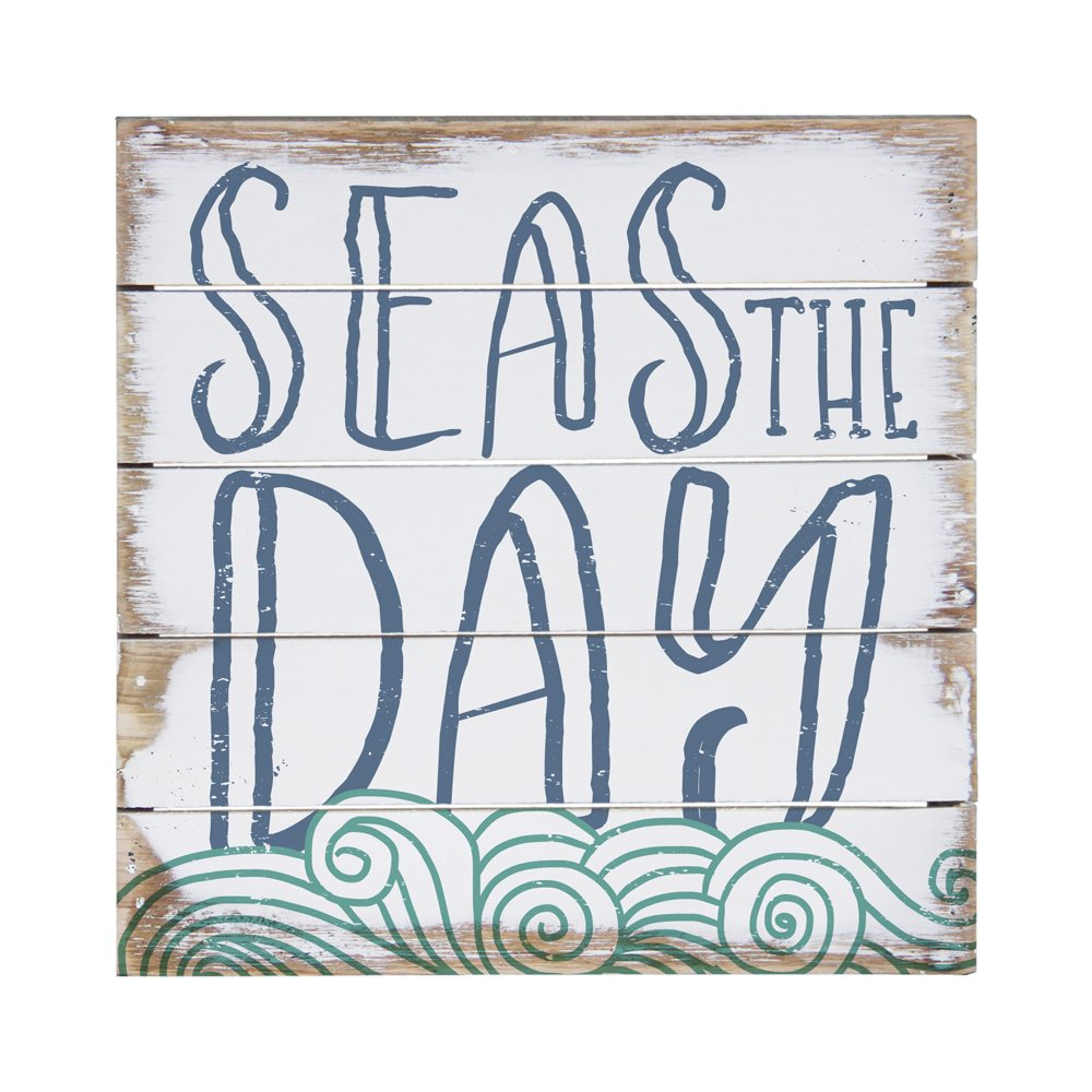 Sincere Surroundings Perfect Pallet Petites 8'' x 8'' Wood Sign, Seas the Day