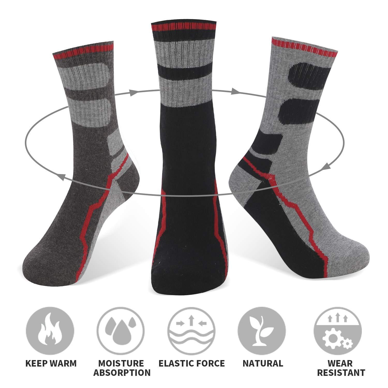 AIMKE 5 Pairs Merino Wool Sock,Athletic Socks Men Hiking Trekking Heavyweight Crew Socks Sweat-wicking and Cushioned Year-round(Style04)