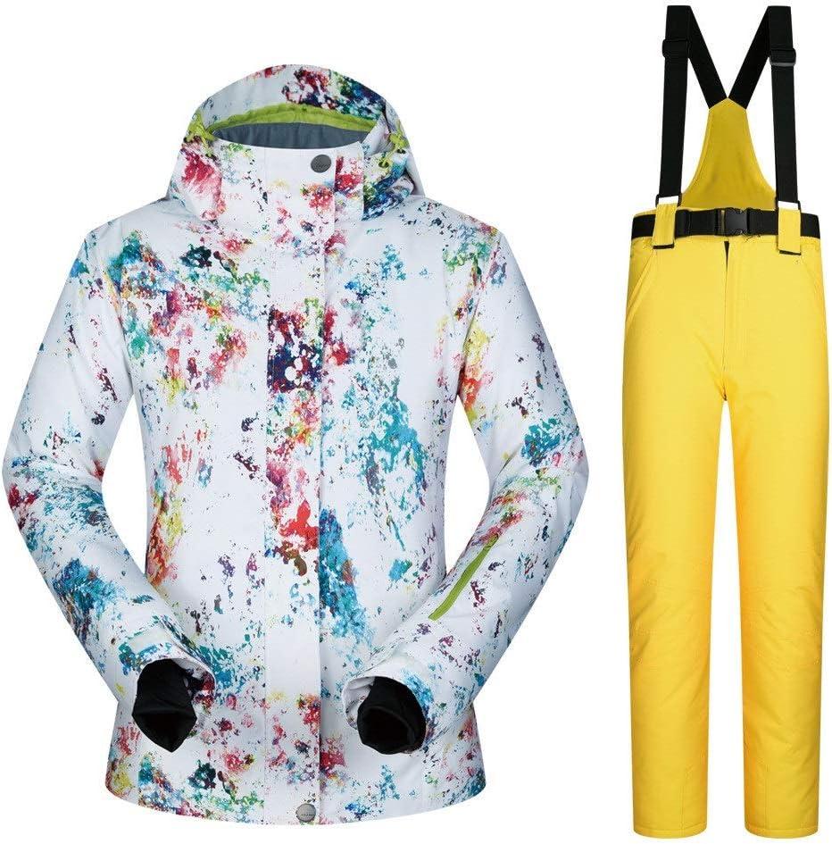 防水スノーシューズ、 スキースーツ女性のスーツ冬屋外防水スキースーツスプラッシュインク (色 : 黄 pants, サイズ : M) 黄 pants Medium