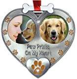 Dog Photo Ornament - Double Picture Pet Ornament - Paw Prints on My Heart Ornament - Dog Memorial Ornament