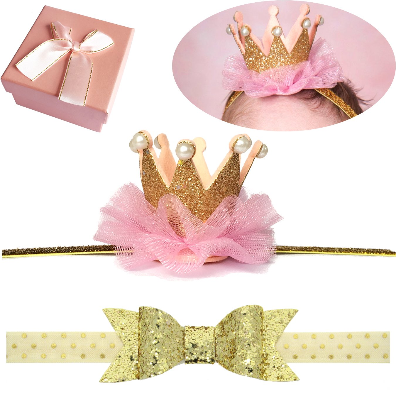 Elesa Miracle Baby Hair Accessories Baby Girl's Gift Box with Shiny Bow Crown Headband