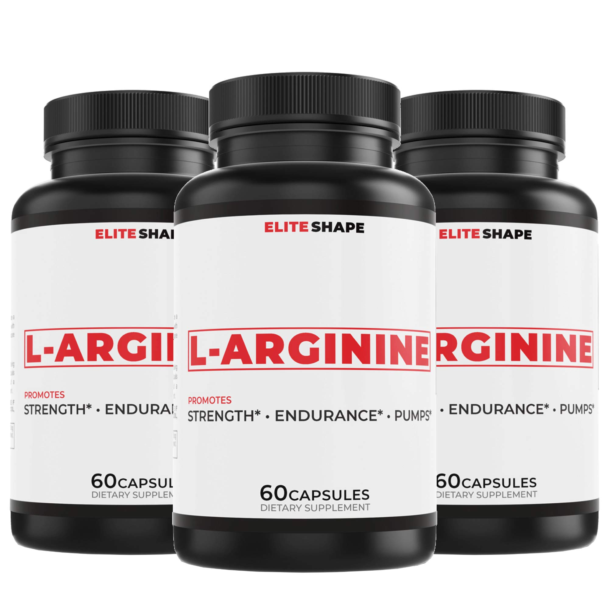L-Arginine by Elite Shape | Sports and Fitness Dietary Supplement | Increase Strength and Blood Flow | Supports Heart Health | 60 Capsules (3)