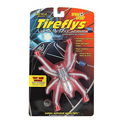 Tireflys Spoke Spider Motion Activated Bicycle Light- Silver/Red : Bike Lights And Accessories : Sports & Outdoors