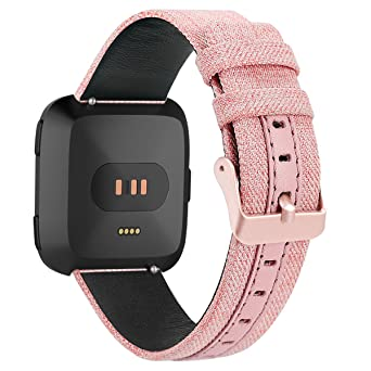 Bonstrap for Nylon Fitbit Versa Band Genuine Leather for Fitbit Versa Replacement Straps Denim Canvas Leisure Wristband
