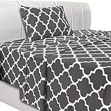 Utopia Bedding Printed Bed Sheet Set - 3 Piece Microfiber Bedsheet Set (Twin, Grey)