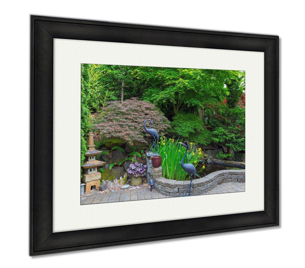 Ashley Framed Prints Home Garden Backyard With Lush Plants Japanese Landscaping Pond Stone Pagoda, Wall Art Home Decoration, Color, 26x30 (frame size), Black Frame, AG6503752