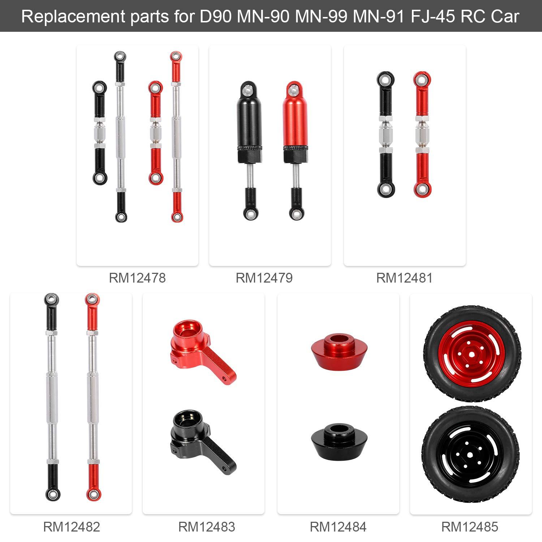 Mobiliarbus Amortiguador de Amortiguador de Metal de aleaci/ón de Aluminio RC Car para D90 MN-90 MN-99 MN-91 FJ-45 RC Car 1//12 Rock Crawler Upgrade Parts