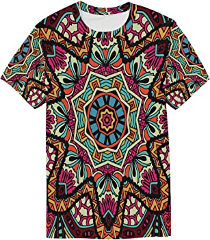 FAJRO - Camiseta de Manga Corta para Hombre con patrón étnico y Tribal Abstracto 1 S: Amazon.es: Ropa y accesorios