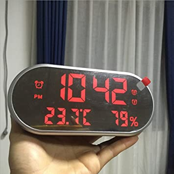 IPOTCH LED Reloj Despertador Digital con 3 Grupos de Alarma Función de Calendario Termómetro Higrómetro - Fuente de Alimentación de USB - Luz Gris-Roja: ...