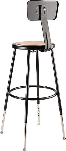 National Public Seating 24 Adjustable Steel Stool with Backrest, Black 6224HB-10
