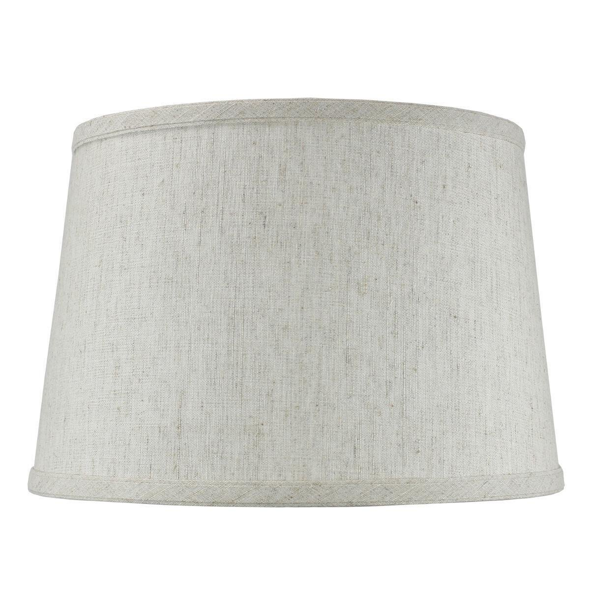 10x12x08 Hardback Shallow Drum Lampshade Textured Oatmeal with Brass Spider fitter By Home Concept - Perfect for table and desk lamps - Medium, Off-white