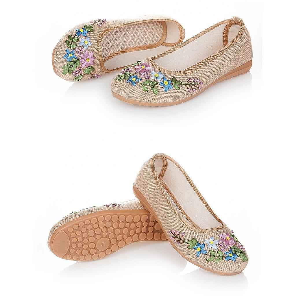 Frauen bestickte Schuhe Frühjahr Herbst Anti-Rutsch flache Schuhe Beige ( Farbe : Beige Schuhe , größe : US:5.5\UK:4.5\EUR:36 ) Beige 28ea0e