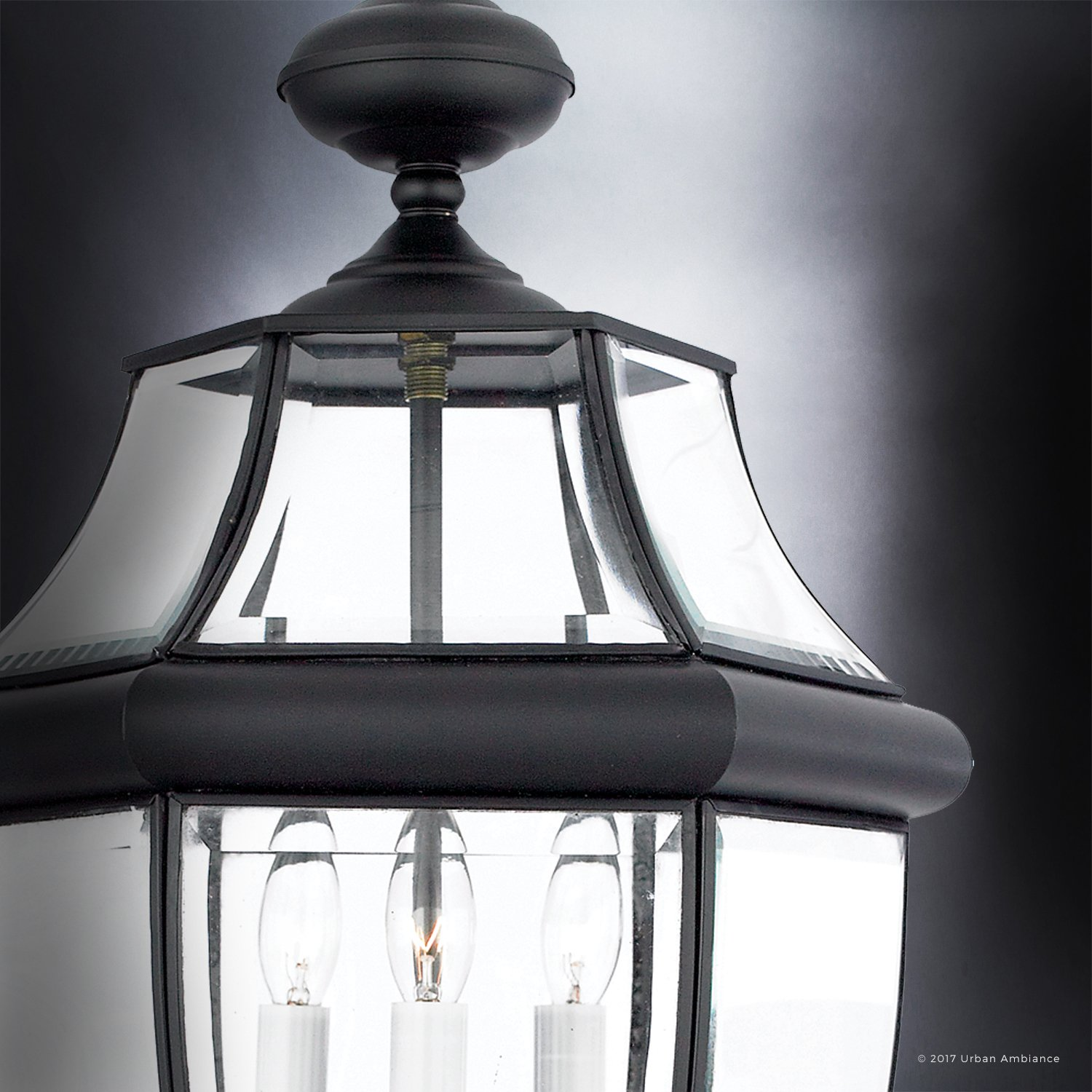 Luxury Colonial Outdoor Post Light, Large Size: 23''H x 12.5''W, with Tudor Style Elements, Versatile Design, High-End Black Silk Finish and Beveled Glass, UQL1150 by Urban Ambiance by Urban Ambiance (Image #5)