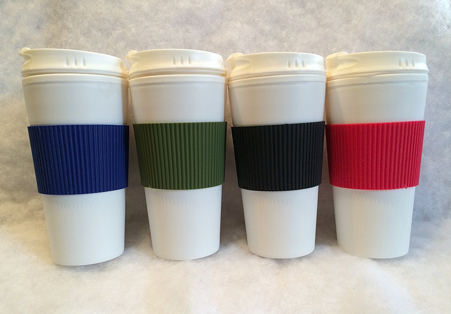 Set of 4 Double Wall Coffee or Tea Travel Mugs with Colorful Wraps and Tab Lids, 16 oz. -Blue, Red, Black, Green by Greenbrier