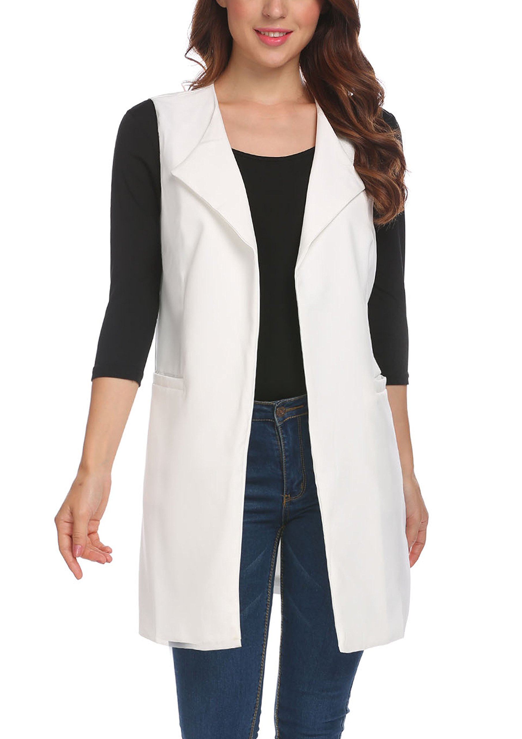 Beyove Women's Casual Sleeveless Solid Long Trench Coat Open Front Blazer Vest With Pockets